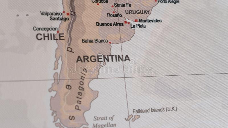 Map view of Argentina and Chile on a geographical globe. World in canvas of geography administrative border stock photography