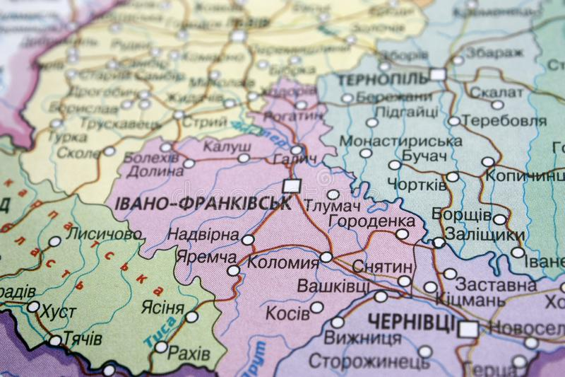 Map view of Ivano-Frankivsk region, Ukraine on a geographical map of Europe. Close-up with blur. Map view of Ivano-Frankivsk region, Ukraine on a geographical royalty free stock photography