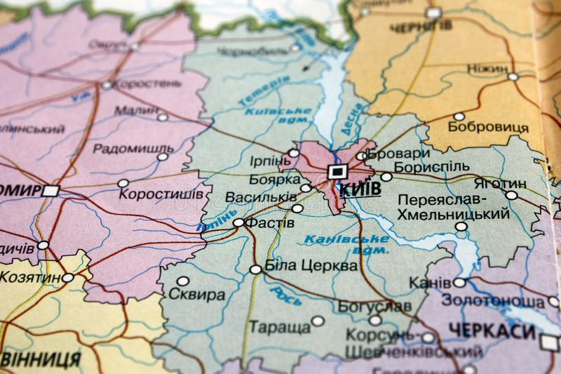 Map view of the Kiev region, Ukraine on a geographical map of Europe. Close-up with blur. Map view of the Kiev region, Ukraine on a geographical map of Europe royalty free stock image
