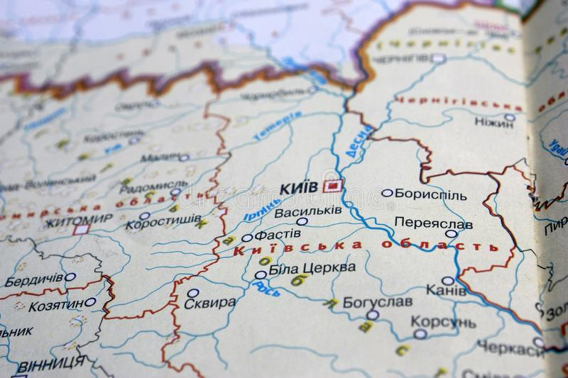 Map view of Kiev, Ukraine on a geographical map of Europe. Close-up with blur. Map view of Kiev, Ukraine on a geographical map of Europe, background, globe, city royalty free stock photos