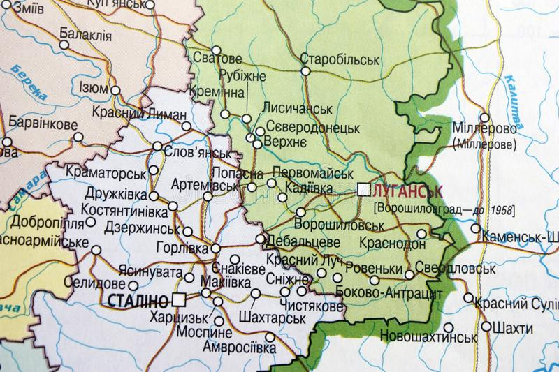 Map view of the Luhansk region, Ukraine on a geographical map of Europe. Close-up with blur. Map view of the Luhansk region, Ukraine on a geographical map of royalty free stock image