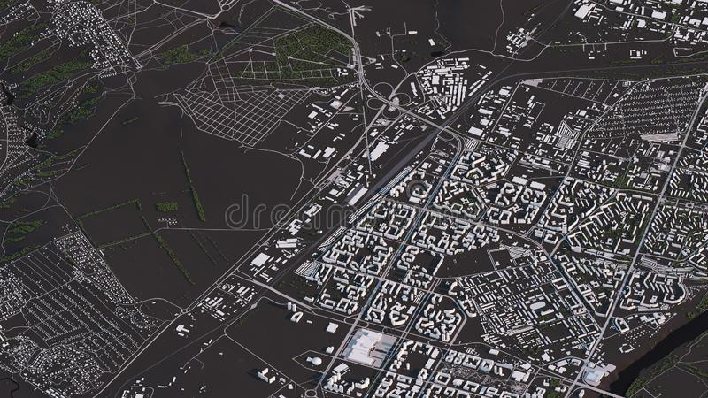 Krasnoyarsk map in 3d isometric landscape roads and buildings. Map view, map in negative, 3d roads and buildings vector illustration