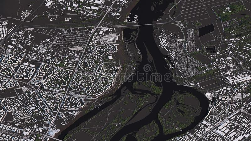 Krasnoyarsk map in 3d isometric landscape roads and buildings. Map view, map in negative, 3d roads and buildings royalty free illustration
