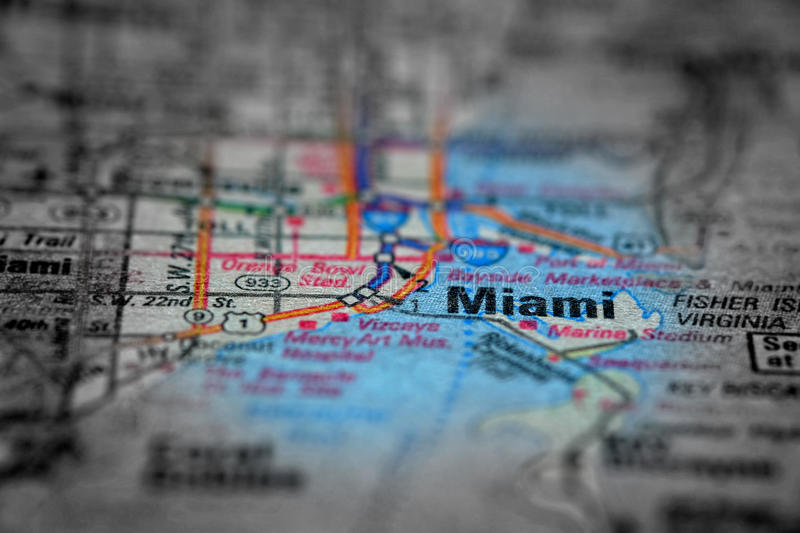Map View For Travel to Locations and Destinations Miami Florida. Travel to locations on map views paper destinations Miami Florida royalty free stock photos