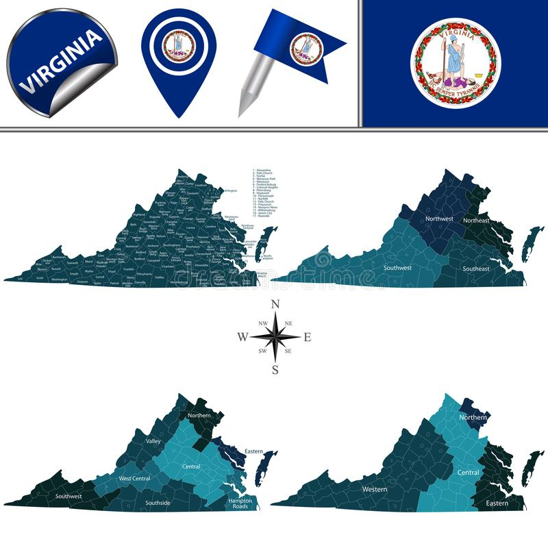 Map of Virginia with Regions. Vector map of Virginia with named regions and travel icons stock illustration