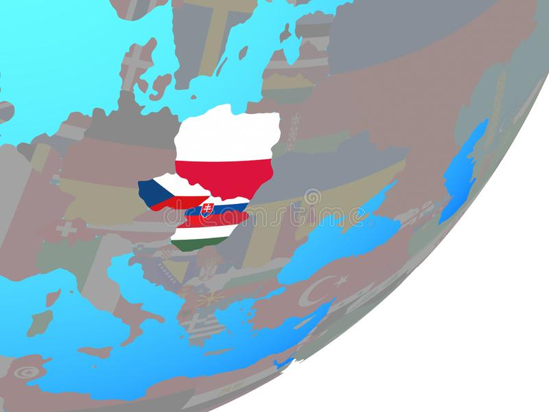 Map of Visegrad Group with flag on globe royalty free illustration