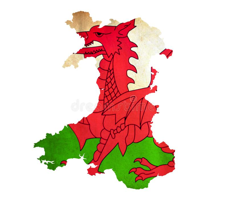 Map of Wales isolated stock images