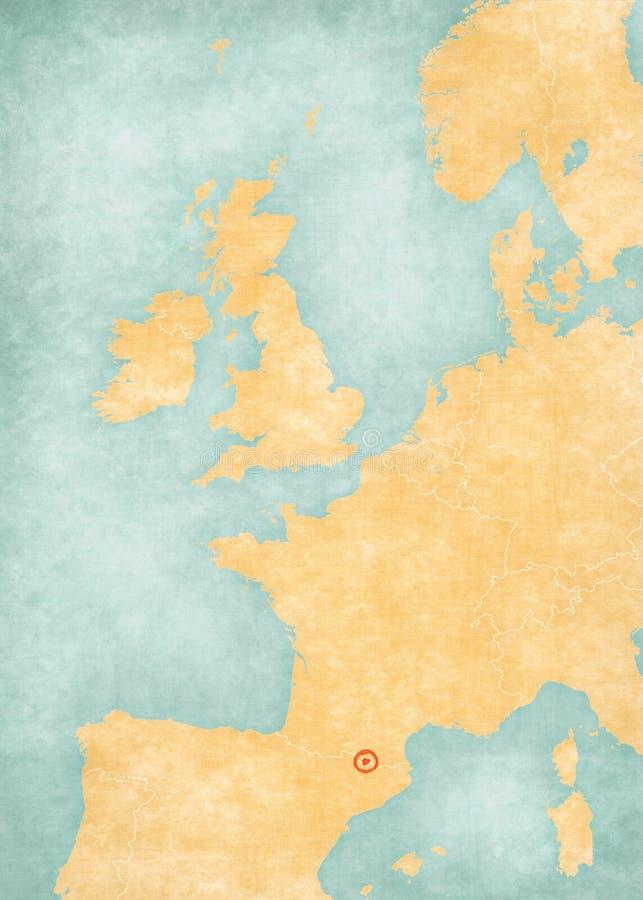 Map of Western Europe - Andorra stock illustration