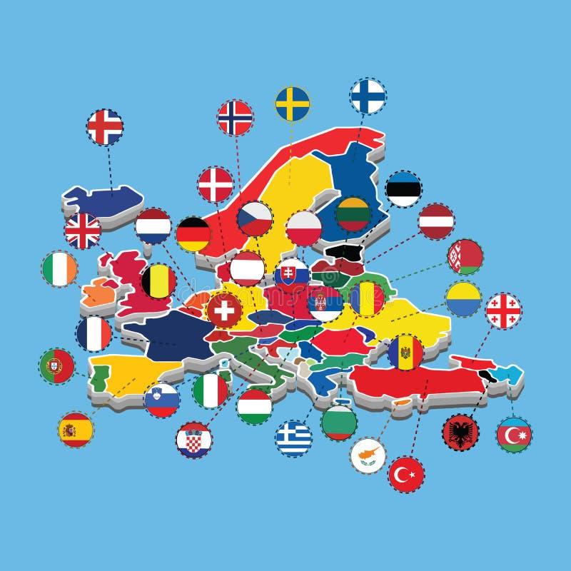 Map OF Western  Europe Isometric Flag  Vector Illustration stock illustration