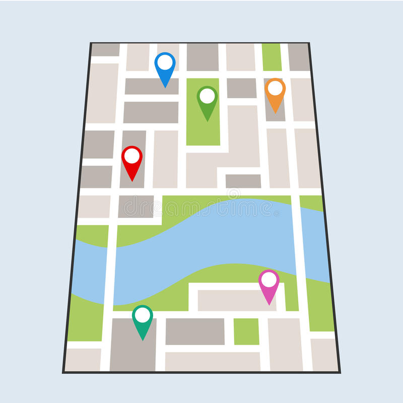 Free Map With Locations Royalty Free Stock Photography - 89432017