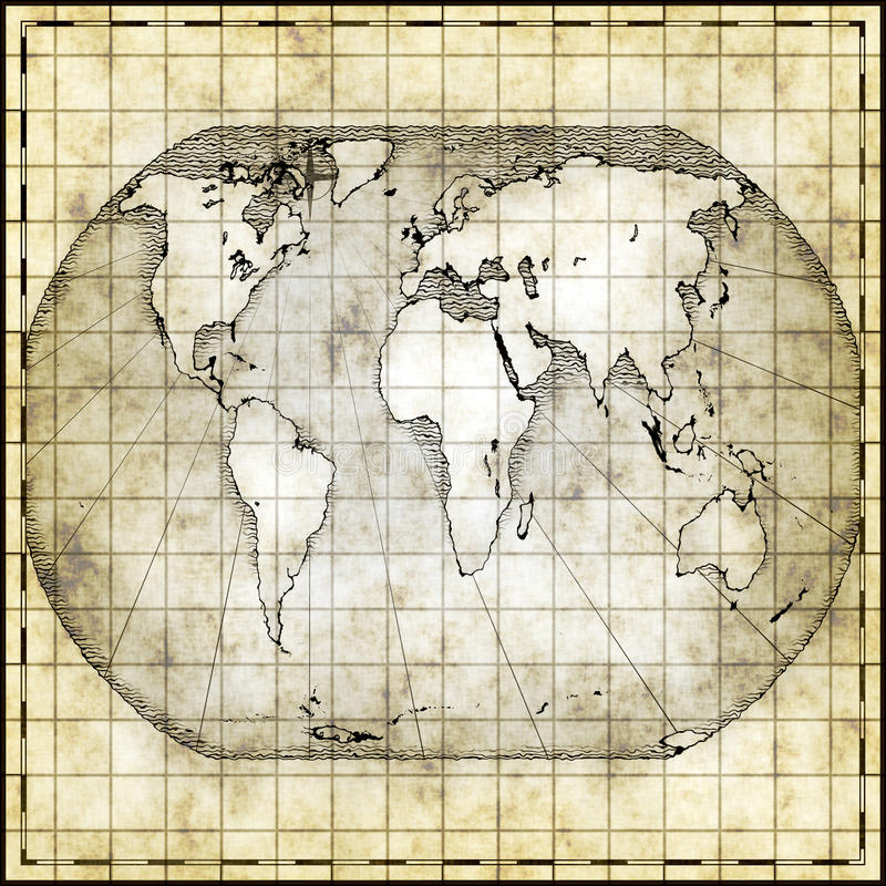 Map of the world. Antique map of the world in square shape royalty free illustration