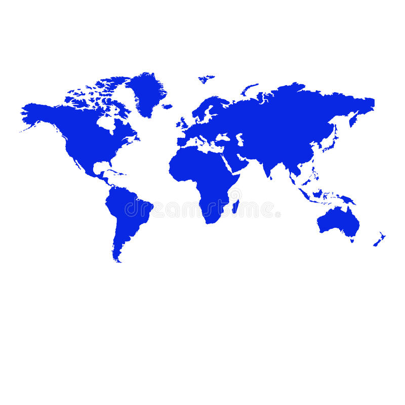 Map of the world. Blue map of the world on white background stock illustration