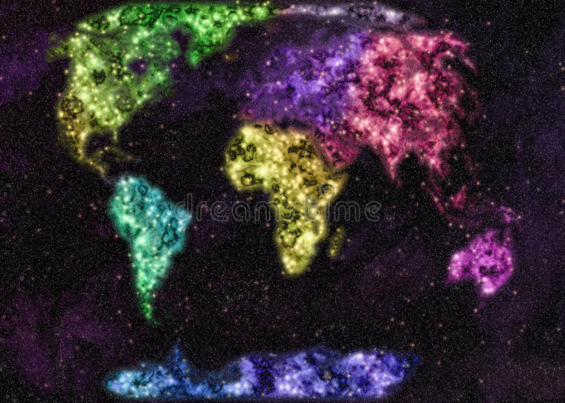 Map of the world. In the form of a starry sky stock illustration
