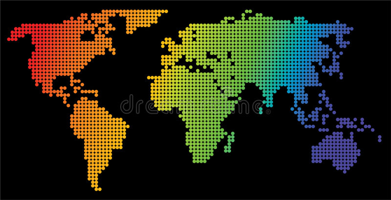 Map of the world. Made from color dots royalty free illustration