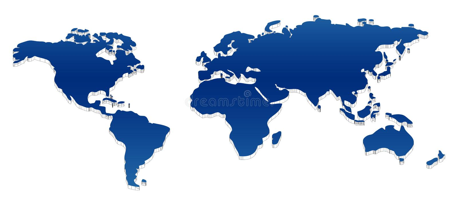 Map of the world. An unfolded map of the world - 3D look suitable for any layout design - eps vector available vector illustration