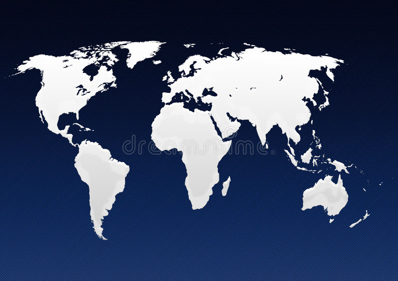 Map of world. In blue line background stock illustration