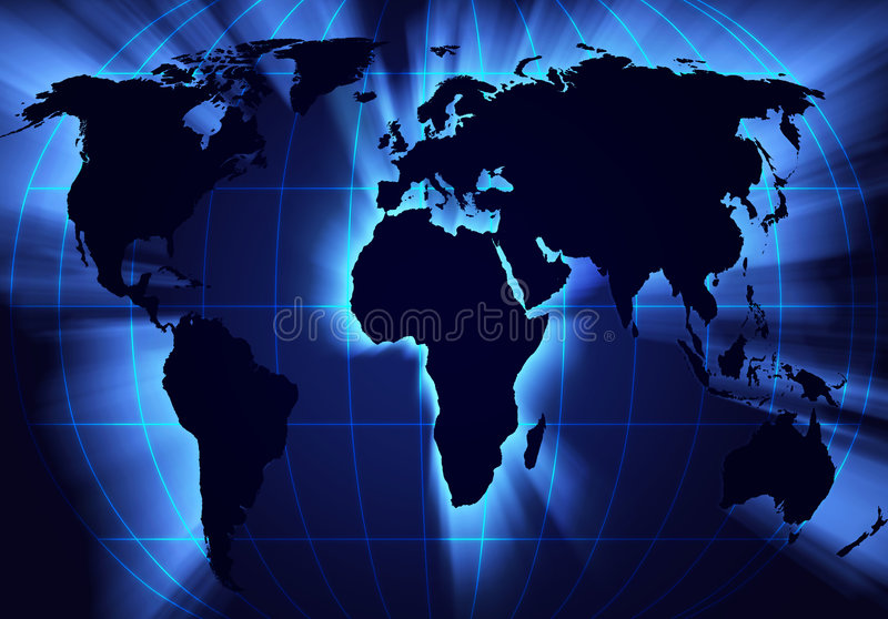 A map of the world. Digitally created map of the world stock illustration
