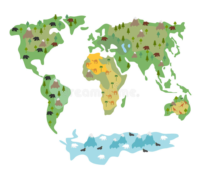 Map Of World With Animals And Trees Geographic Map Of Globe W - Map of globe