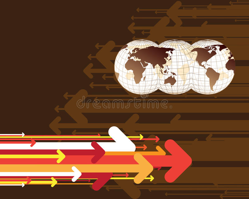 Map of the world and arrows vector illustration