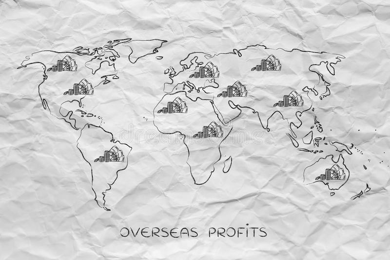 Map of the world with cash, global finance & corporate profits. Concept of global finance and corporate profits: map of the world with cash and banknotes all stock photography