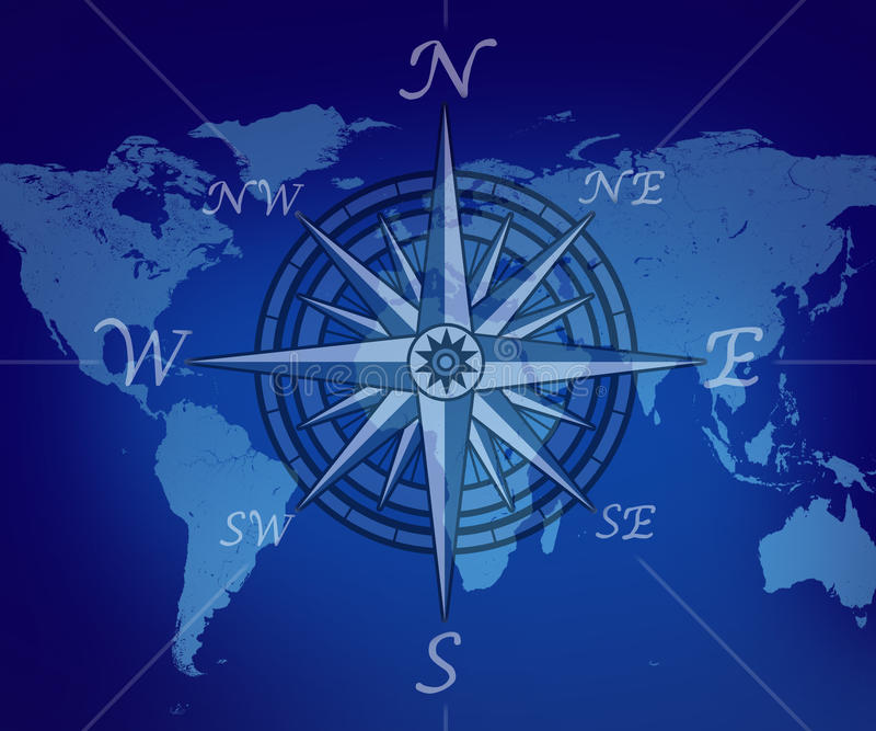 Map of the world with compass. On blue background representing travel and business traveling journey for navigating to new global trading opportunities with the vector illustration