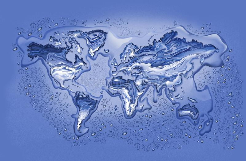 Melting Ice World. Map of World with Continents in Melting Ice surrounded with droplets and puddles vector illustration