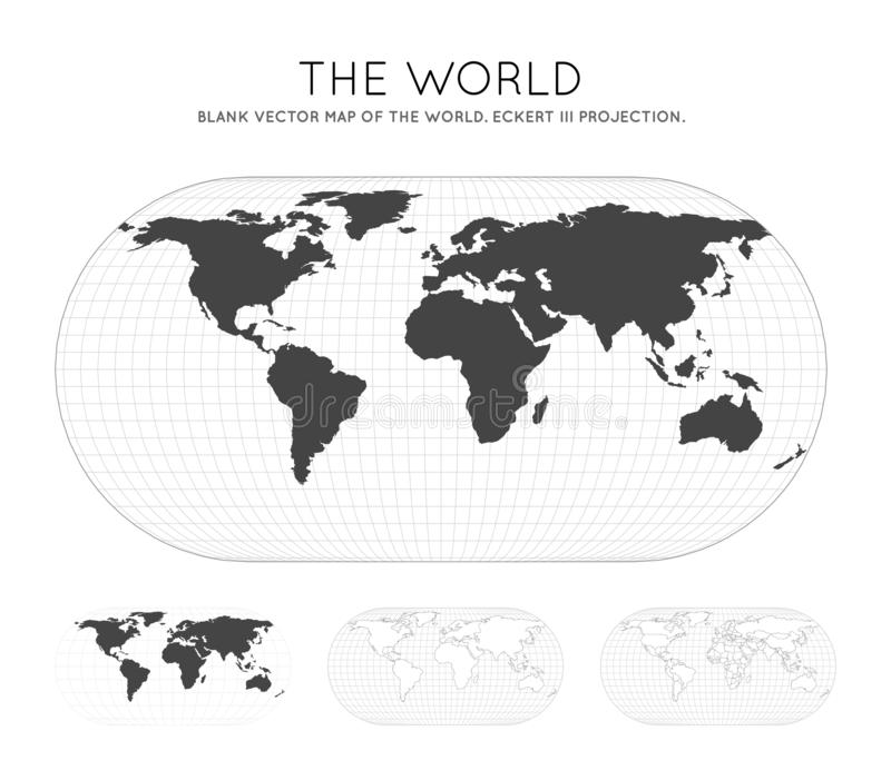 Map of The World. Eckert III projection. Globe with latitude and longitude lines. World map on meridians and parallels background. Vector illustration stock illustration