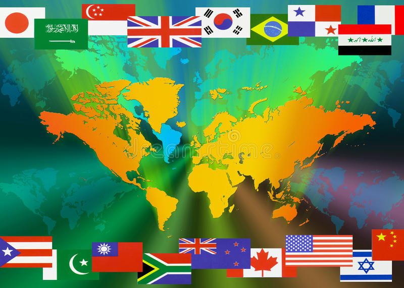 Map of the World with Flags royalty free illustration