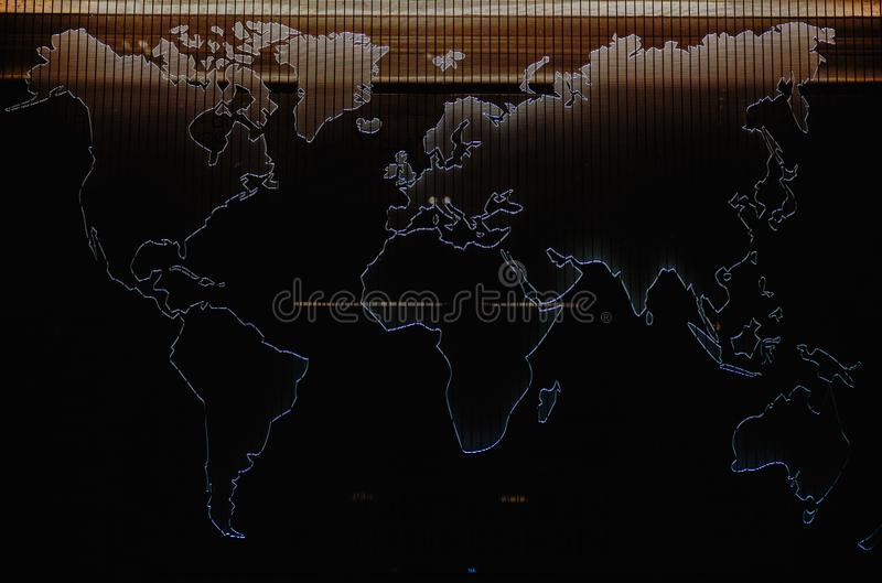 Map of the World. World map, highlighted shapes with light, decoration of a wall stock photo