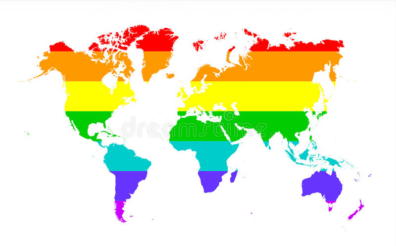 Map of world. Isolated on white, Rainbow flag royalty free illustration