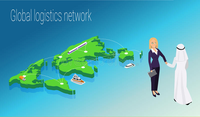 Map world isometric concept. 3d flat illustration. Of Map world. Vector world map connection royalty free illustration