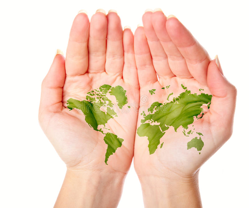 Map of world painted on hands royalty free stock photos