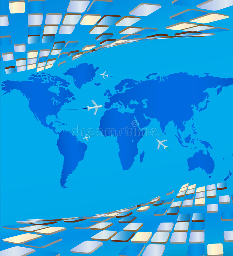 Map of the world surrounding the volumetric plates vector illustration