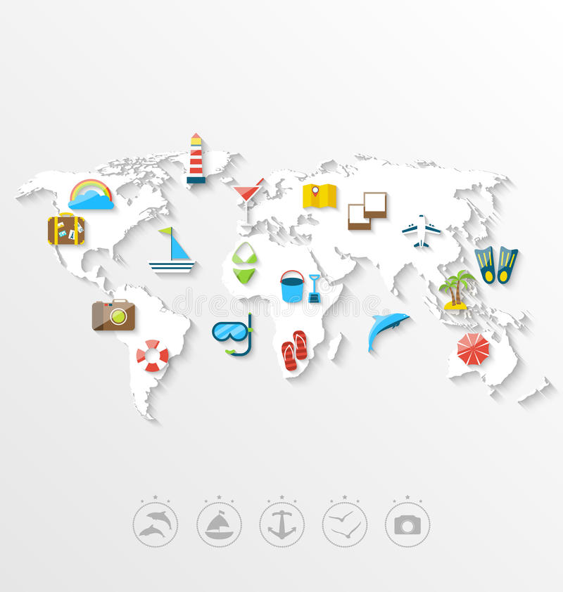 Map of world travel concept simple colorful flat icons stock vector download map of world travel concept simple colorful flat icons stock vector illustration of gumiabroncs Images