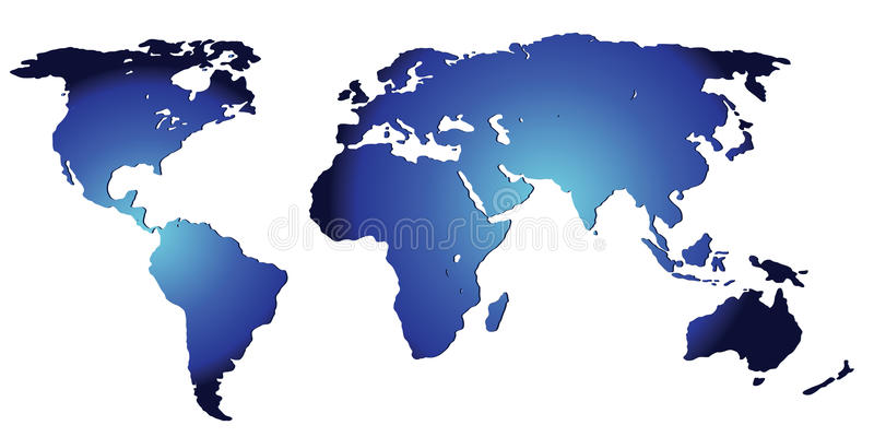 A map of the world. An unfolded map of the world royalty free illustration