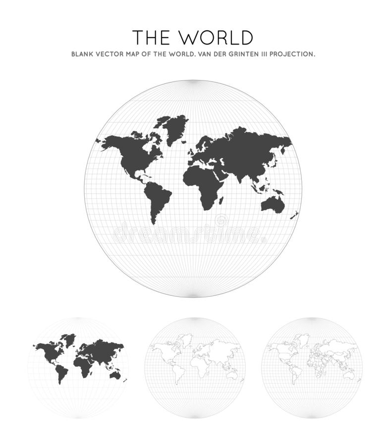 Map of The World. Van der Grinten III projection. Globe with latitude and longitude lines. World map on meridians and parallels background. Vector illustration vector illustration