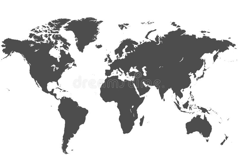 Map of the world. Vector map of the world. Grey illustration on white background stock illustration