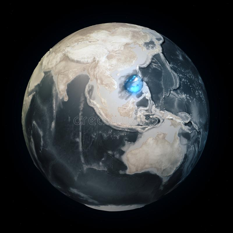 Map of the world without water. All the water on Earth in one place. Water sphere. Climate change, global warming. Physical world vector illustration