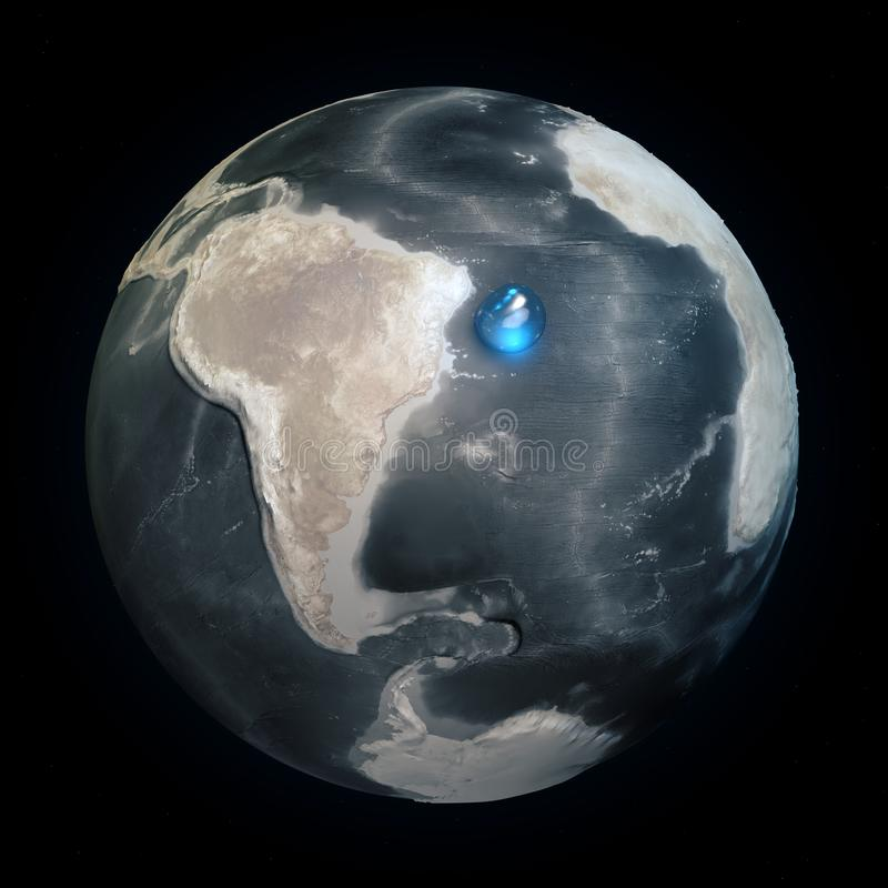 Map of the world without water. All the water on Earth in one place. Water sphere. Climate change, global warming. Physical world royalty free illustration