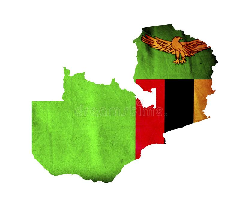 Map of Zambia isolated royalty free stock image