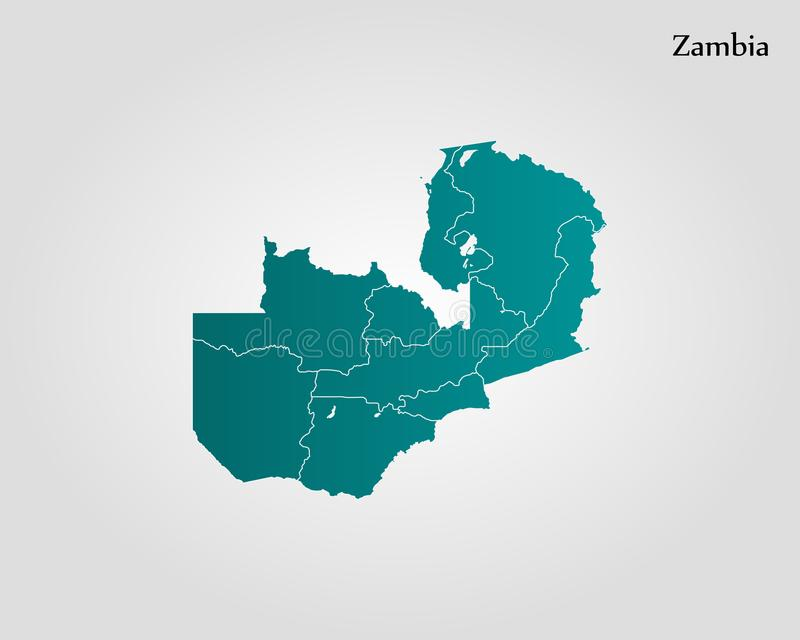 Map of Zambia stock illustration. Illustration of frontier - 109465058
