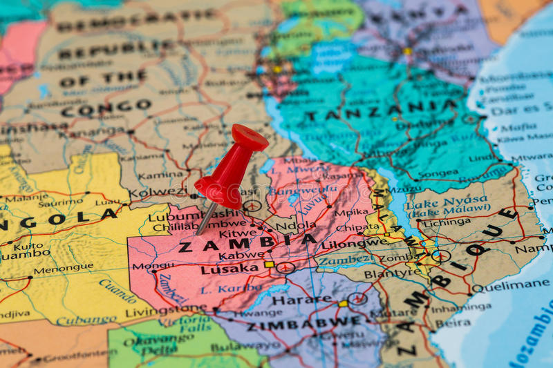 Map Of Zambia With A Red Pushpin Stuck Stock Photo Image of middle