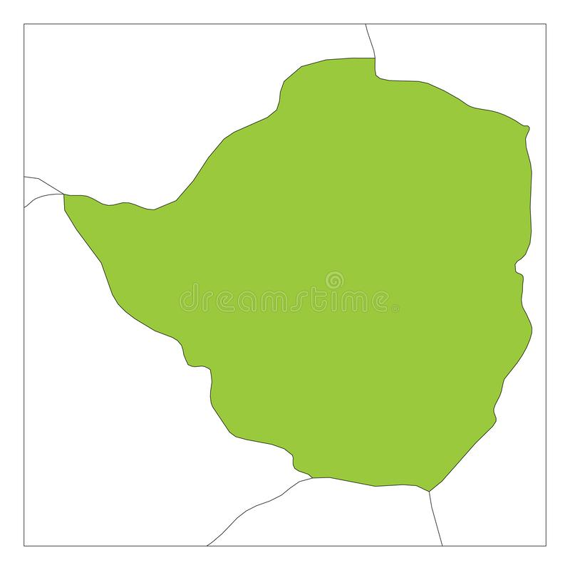 Map of Zimbabwe green highlighted with neighbor countries stock illustration