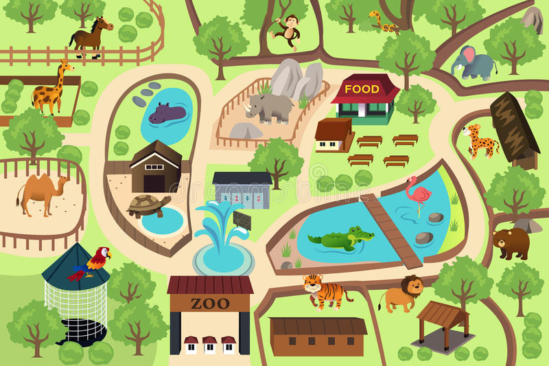 Map of a zoo park. A vector illustration of map of a zoo park