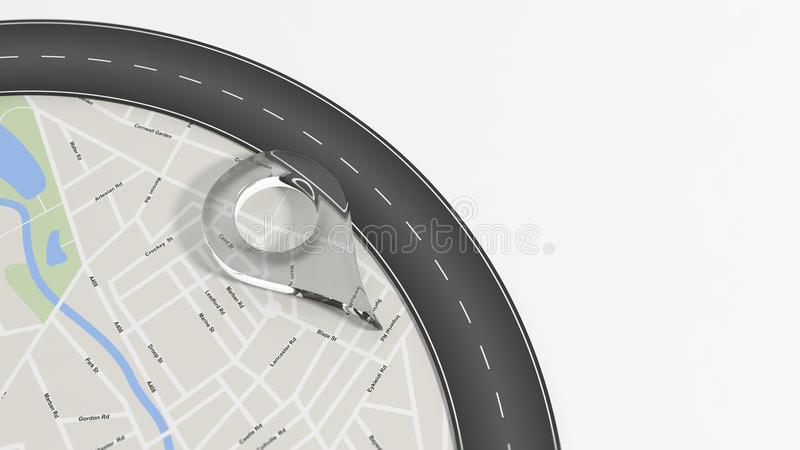 Map with zoom on road with turn and big glass pointer. On white with copy-space royalty free illustration