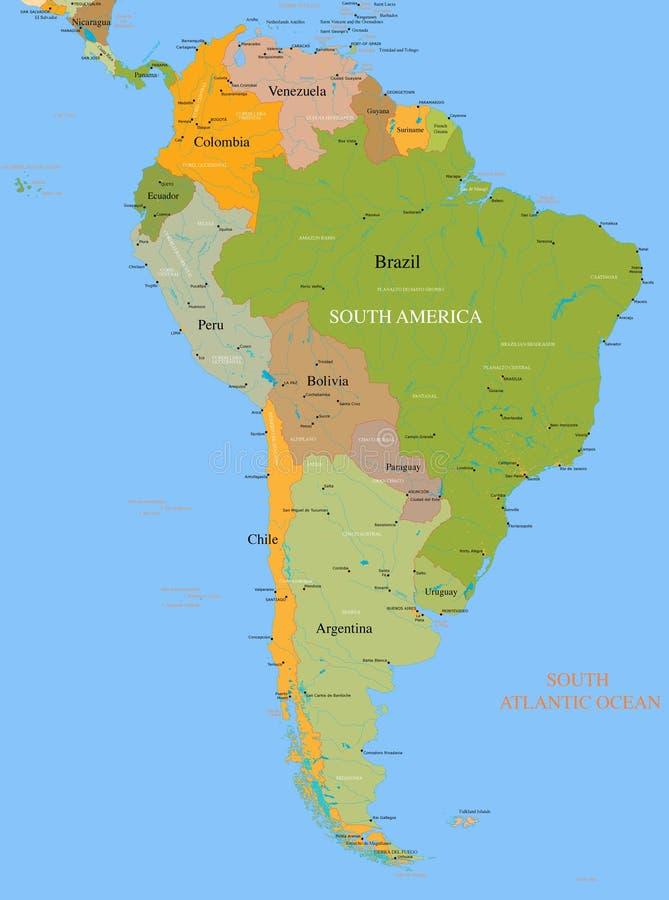 Mapa Ámérica do Sul - detalhada ilustração stock