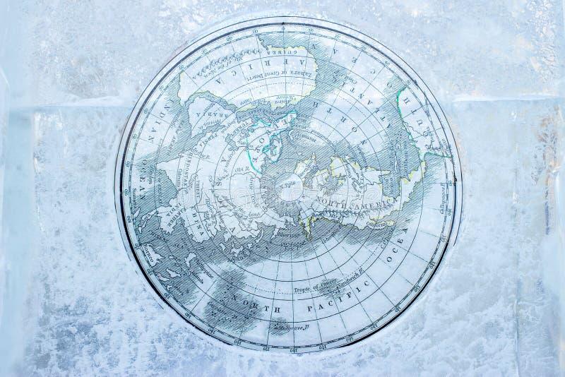 Mapa ártico do vintage no gelo imagens de stock royalty free