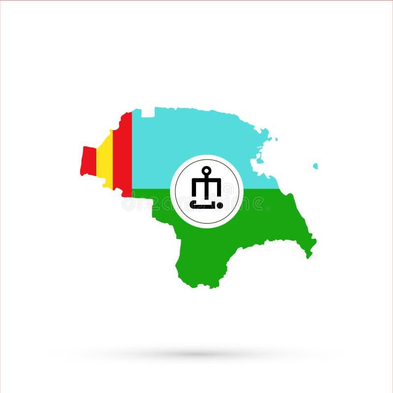 Mapa étnico em cores da bandeira de Astracã Tatars, vetor editável de Rússia do território de Nogais ilustração stock