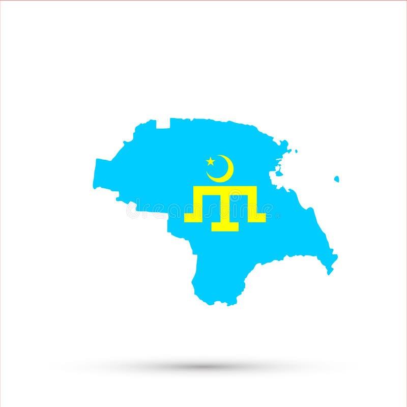 Mapa étnico em cores da bandeira dos grupos étnicos de Dobruja Tatars, vetor editável de Rússia do território de Nogais ilustração royalty free
