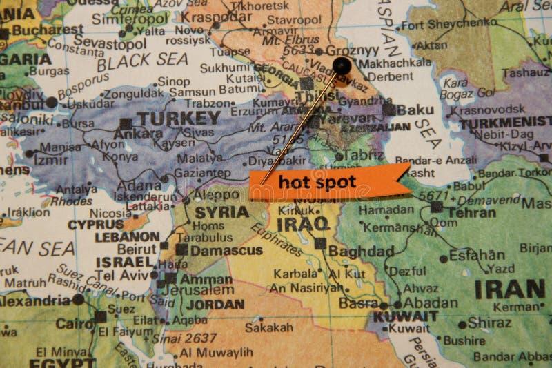 Mapa Środkowy Wschód Pokazuje Syrię jako Gorący punkt zdjęcia royalty free
